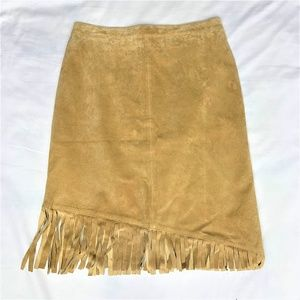 Newport News 100% Leather Tan Fringed Skirt size10